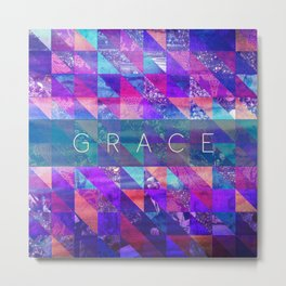 "2 Corinthians 12:9 ""Grace"" (purple triangles) Metal Print"
