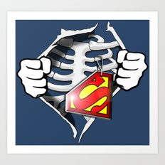 Skeleton Rib Cage With Superman Tag Art Print