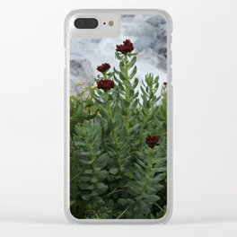 Flower against a white stream. Clear iPhone Case