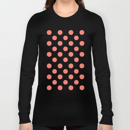 Polka Dots (Salmon/White) Long Sleeve T-shirt