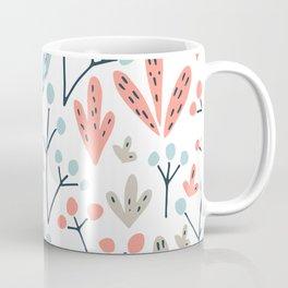 Coral Duck Egg Blue Greige Floral Leaves Coffee Mug