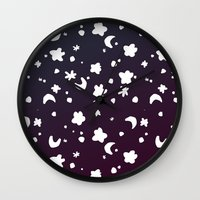 starry night Wall Clocks featuring Starry Night by Oh Monday