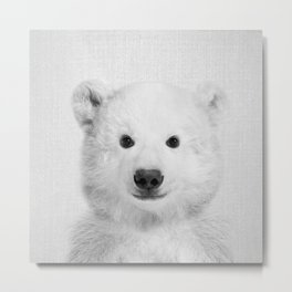 Polar Bear - Black & White Metal Print
