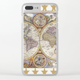 Vintage Map with Stars Clear iPhone Case