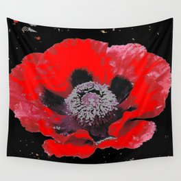 RED POPPY ABSTRACT FLORAL BLACK ART Wall Tapestry