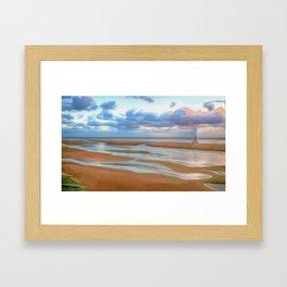 The Beach at Sunset (Digital Art) Framed Art Print