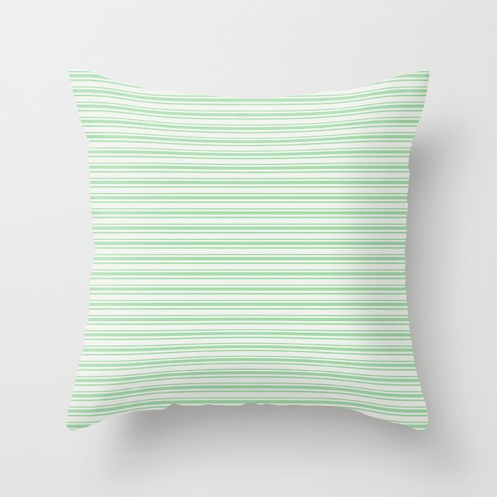 Pastel Green Horizontal Line Pattern 2 on Linen White Pairs to 2020 Color of the Yeear Neo Mint Throw Pillow