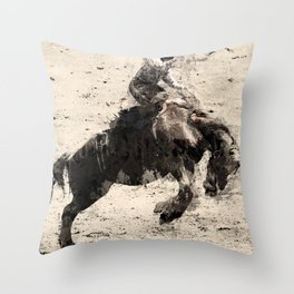 Hanging On - Bronco Busting Champ Throw Pillow