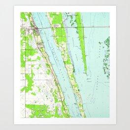 Vintage Map of Cocoa Florida (1949) Art Print
