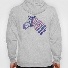 Zebra Watercolor Purple Stripes Animal Hoody