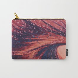 red orange violet blue bubbles psychedelic abstract paint pour Carry-All Pouch