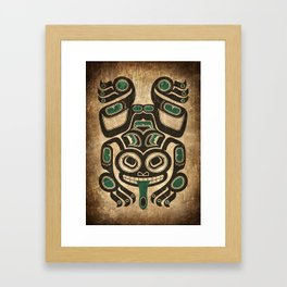 Teal Blue and Black Haida Spirit Tree Frog Framed Art Print