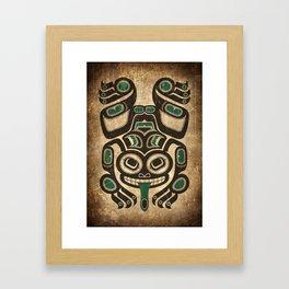 Teal Blue and Black Haida Spirit Tree Frog Framed Art Print