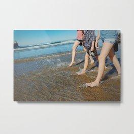 Walking On The Beach Metal Print
