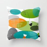 mid century modern Throw Pillows featuring Mid-Century Modern Atomic Ovals by Kippygirl