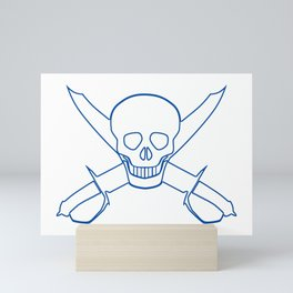 Skull and Cutlasses In Outline Mini Art Print