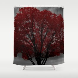 Red Tree, Grey Sky Shower Curtain