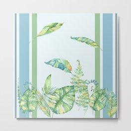 Greenery and Stripes Metal Print