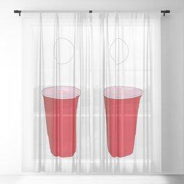 Beer Pong Illustration Sheer Curtain