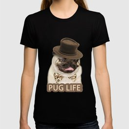 Dog pug with hat T-shirt