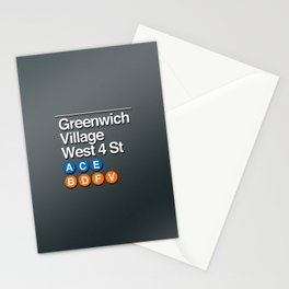 subway greenwich village sign Stationery Cards