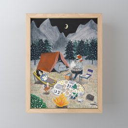 Family Camping in the Forest Framed Mini Art Print