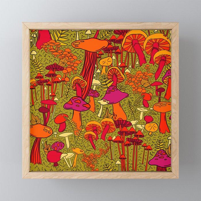 Mushrooms in the Forest Framed Mini Art Print