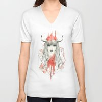 zodiac V-neck T-shirts featuring Zodiac - Taurus by Simona Borstnar