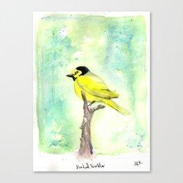 Hooded warbler in watercolor Canvas Print