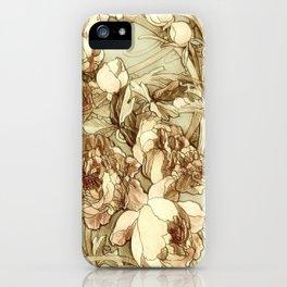 Art-Deco Flowers Sketch  iPhone Case