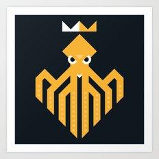 Octopus Rex Logo in Orange Art Print