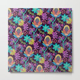 Colorful Glass Beads Look Retro Floral Design Metal Print