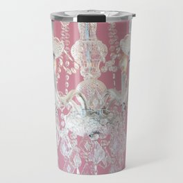 Pink and White Crystal Chandelier Shabby Chic Decor Travel Mug