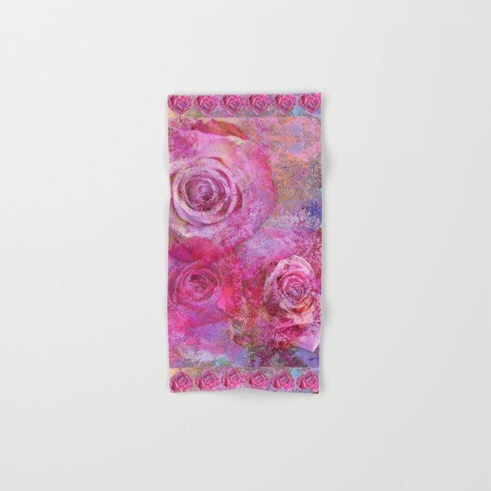 Artistic romantic pink roses Hand & Bath Towel