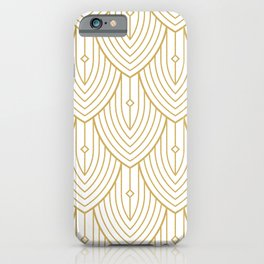 Gold and white art-deco pattern iPhone Case