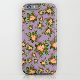 Watercolor Flowers on Purple Background iPhone Case
