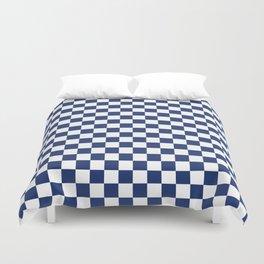 Navy Checkerboard Pattern Duvet Cover