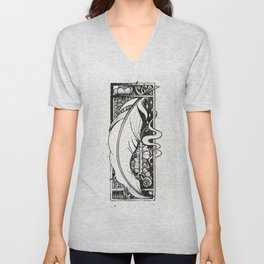 Wing Feather Inktober :: Bronzed Angels Barefoot Unisex V-Neck