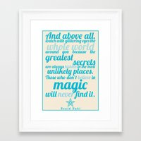roald dahl Framed Art Prints featuring Roald Dahl / Typography Quote by Farquharson