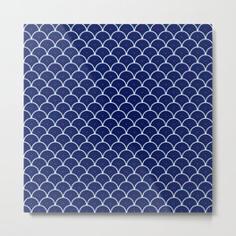 Japanese Waves Seigaiha Blue Red Metal Print