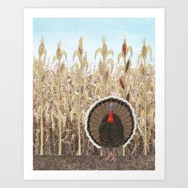 wild turkey & Indian corn Art Print