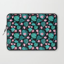 Tropical teal pink black vector floral pattern Laptop Sleeve
