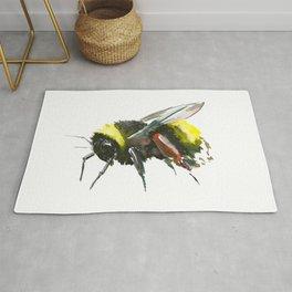 Bumblebee, minimalist bee honey making art, design black yellow Rug