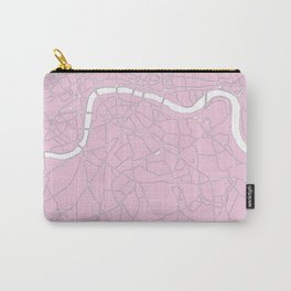 London Pink on White Street Map Carry-All Pouch