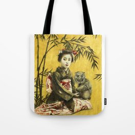 Vintage Geisha And Demon Tote Bag