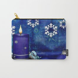 Blue Candle Christmas Carry-All Pouch