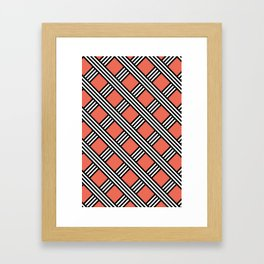 Pantone Living Coral, Black & White Diagonal Stripes Lattice Pattern Framed Art Print