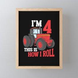 4th Birthday Tractor loving Kid 4 Year Old Farmer Framed Mini Art Print