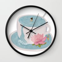 relax Wall Clocks featuring Relax by Laura O'Connor