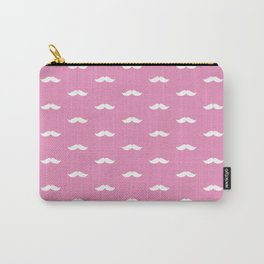White Mustache pattern on hot pink background Carry-All Pouch